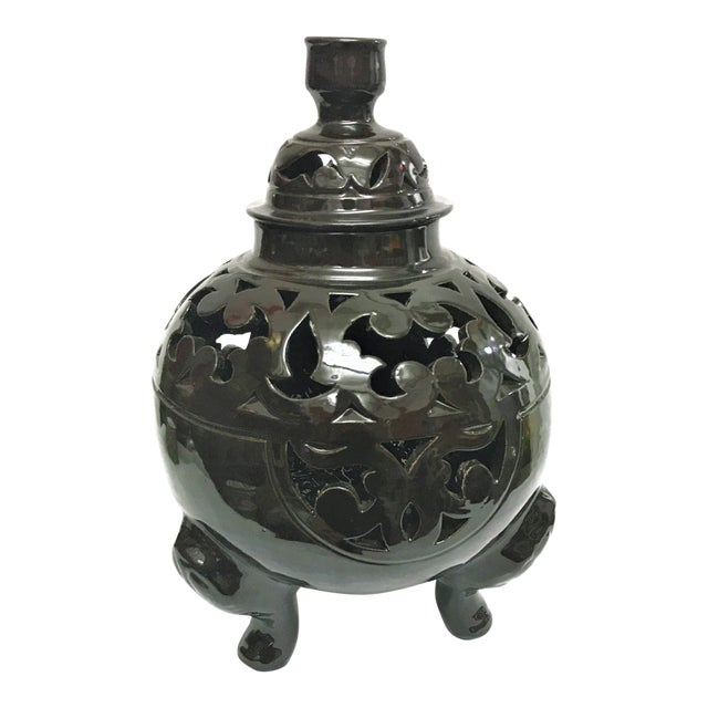 Moroccan Black Handcrafted Ceramic Vase with Lid - Image 1 of 4