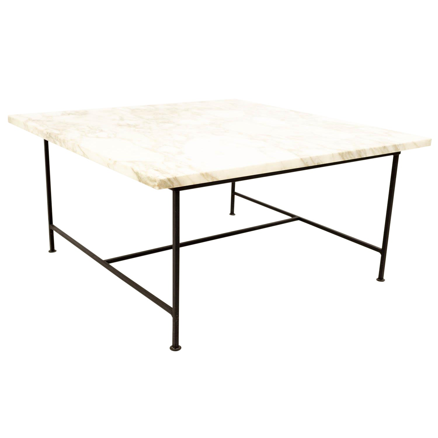 Mid Century Modern Marble And Iron Square Coffee Table Chairish