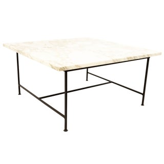 Mid Century Modern Marble and Iron Square Coffee Table For Sale