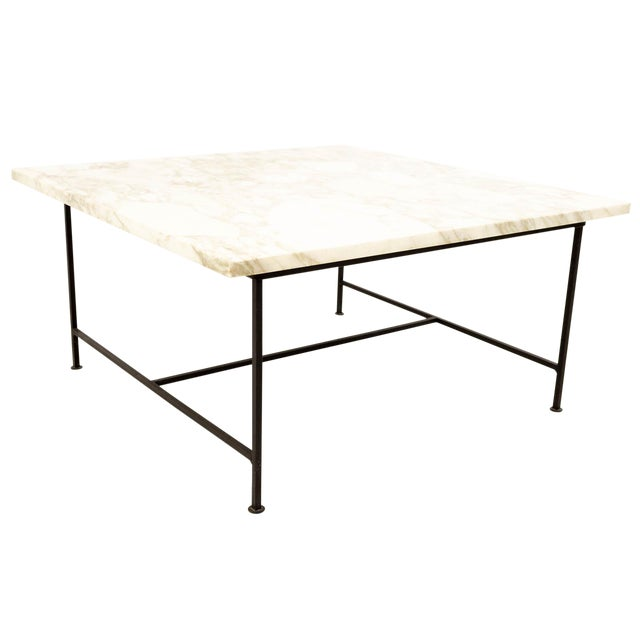 Paul McCobb Style Mid Century Marble and Iron Square Coffee Table For Sale