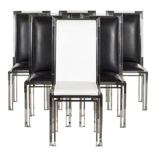 Dining Chairs in Lucite and Chrome by Charles Hollis Jones, Metric Collection - Set of 6 For Sale