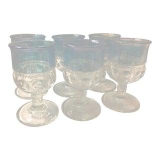 Traditional Crystal & Blue Goblets - Set of 6