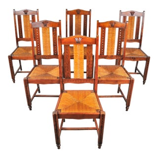 Vintage Set of 6 French Provincial Maple Rush Seat and Back Dining Chairs For Sale