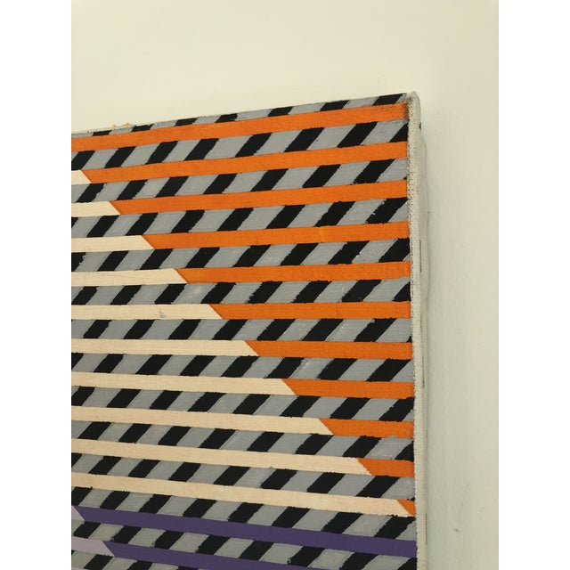 1980s Gabe Silverman Abstract Op Art Painting on Canvas For Sale In Miami - Image 6 of 10