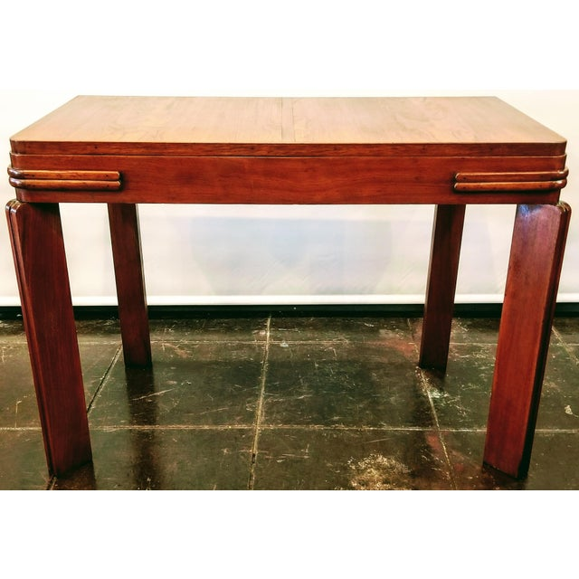 Streamline Art Deco Padauk Wood Writing Desk / Pier Table / Console Table For Sale In San Diego - Image 6 of 6