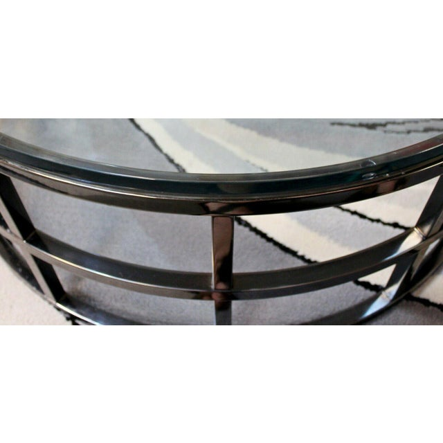 Transparent Contemporary Modernist Large Round Gunmetal Glass Coffee Table Brueton 1980s For Sale - Image 8 of 10