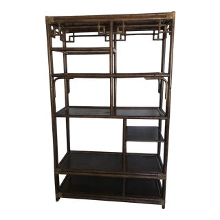 Vintage Asian Chinoiserie Bamboo Etagere For Sale