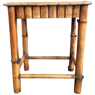 Vintage Chinoiserie Style Bamboo Side Table