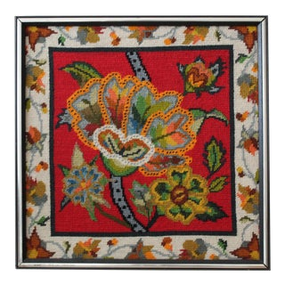 Vintage Mid-Century Psychedelic Flowers Needlepoint For Sale