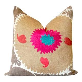 Udyan Suzani Throw Pillow For Sale