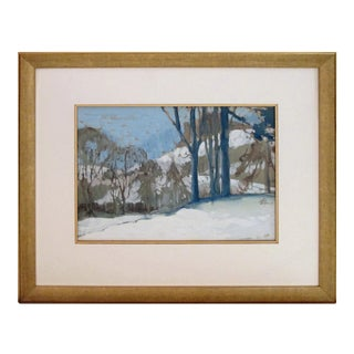 Early 20th Century Winter Landscape Gouache Painting Signed Robb Beebe, Framed For Sale