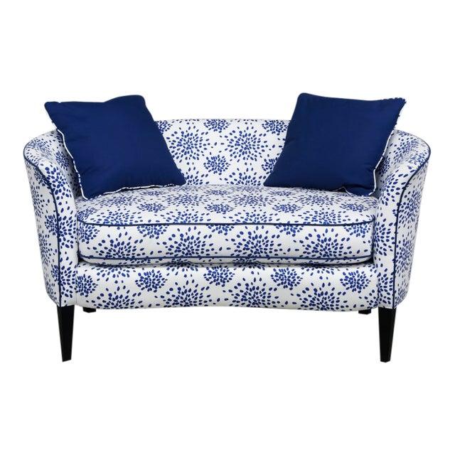 Modern Blue & White Custom Made Settee For Sale
