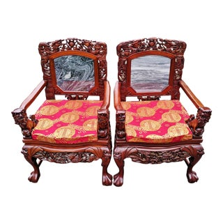 Vintage Asian Chinese Foo Dog & Dragon Carved Marble Inset Arm Chairs - a Pair For Sale