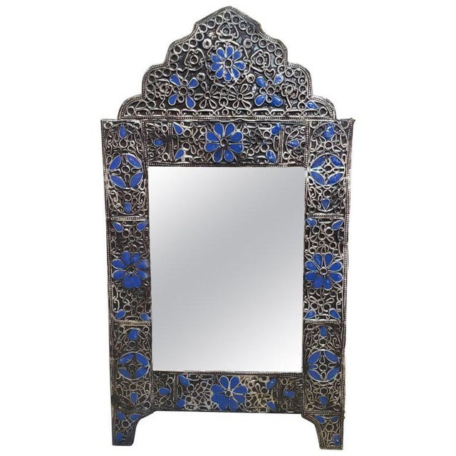 Metal Moroccan Ultra Arched Metal Inlaid Mirror, Rabat, Dark Blue Motif For Sale - Image 7 of 7