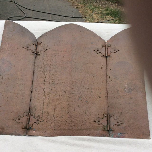 Country Antique Hammered Copper Folding Screen For Sale - Image 3 of 10