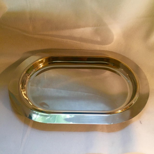 Contemporary Italian Mid-Century Modern Gold Trim Stainless Steel Tray For Sale - Image 3 of 7