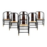 Image of Vintage Black Lacquer & Cane Dining Chairs by Henredon - Set of Six For Sale