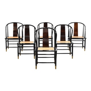 Vintage Black Lacquer & Cane Dining Chairs by Henredon - Set of Six For Sale