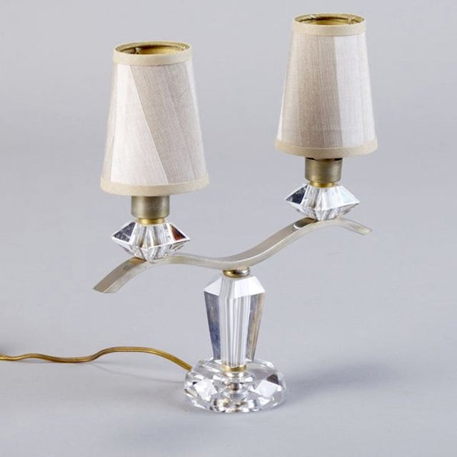 Jacques Adnet 2 Light Girandole Table Lamps - Pair For Sale - Image 5 of 6