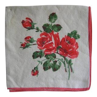Red Rose Linen Napkins - Set of 4 For Sale