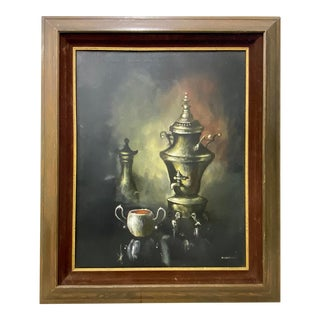 Vintage Original Still Life Oil Painting W/ Silver Coffee Chafer by Parisch C.1970 For Sale