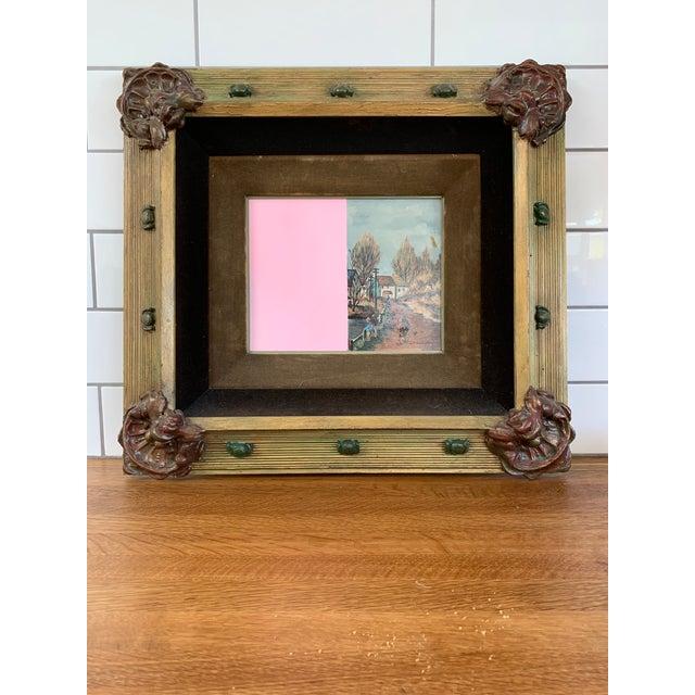 Paint Vintage Mid-Century Original Color Block Oil Painting For Sale - Image 7 of 7