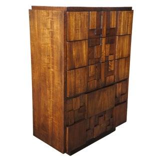 1970s Brutalist Lane Paul Evans Walnut Tallboy Dresser Preview