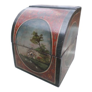 Continental Paint Decorated Document Box, Early 19th Century For Sale