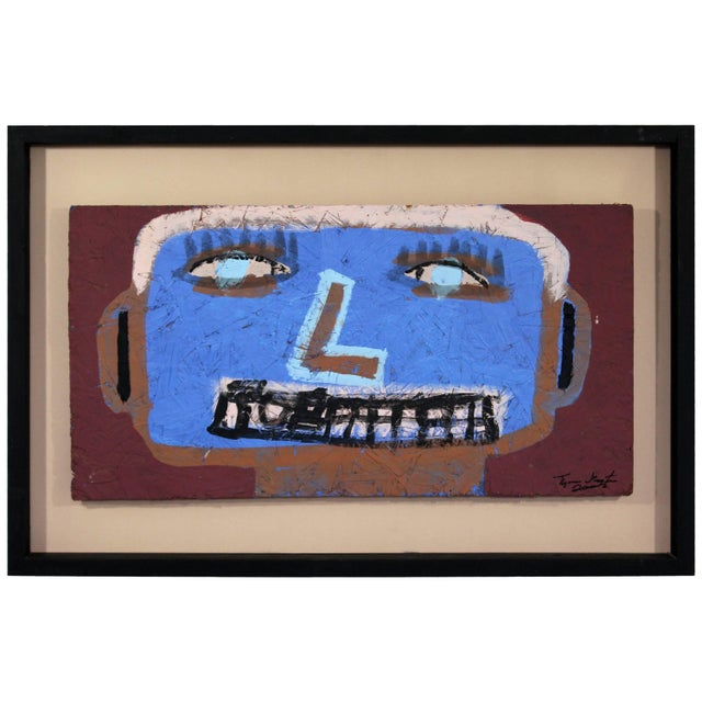 Blue Contemporary Framed Painting on Wood Portrait Signed Tyree Guyton Dated 2000s For Sale - Image 8 of 8