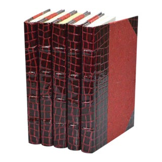 Exotic Collection Croc II Scarlet Books - Set of 5 For Sale