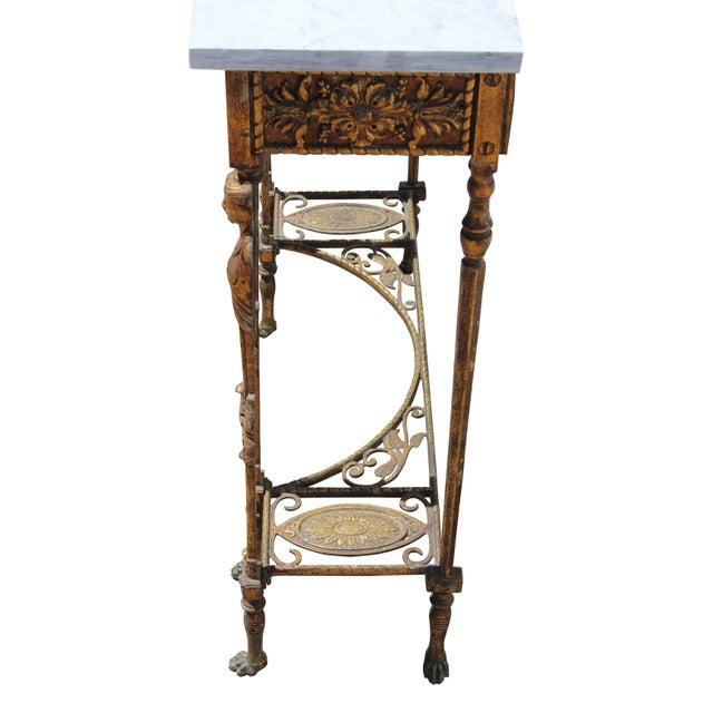 Art Deco 1920s Art Deco Marble Top Iron Table For Sale - Image 3 of 11