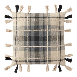 """Loloi Traditional Plaid Pillow with Tassels, Grey / Multi - 18"""" x 18"""" Cover For Sale"""