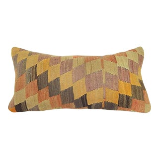 Vintage Diamond Turkish Kilim Pillow Cover, Wool Lumbar Cushion, Tribal Office and Home Decor 12'' X 24'' (30 X 60 Cm) For Sale