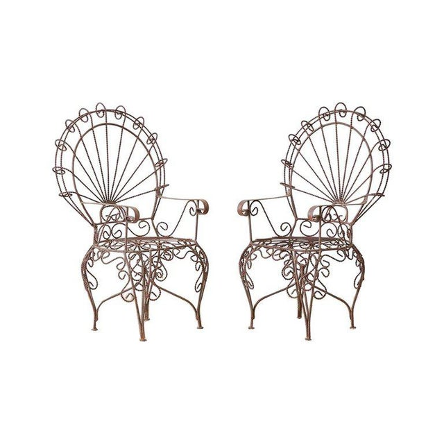 Pair of Salterini Iron Peacock Salesman Sample Chairs For Sale - Image 13 of 13