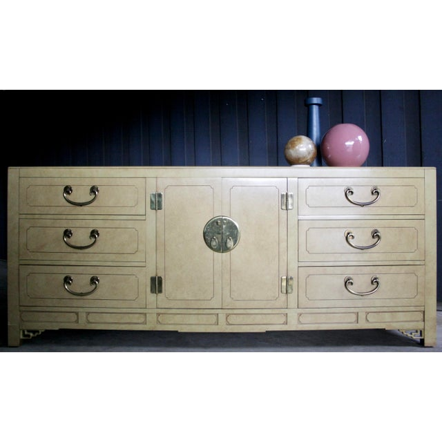 Faux Parchment Lacquered Chinoiserie Credenza For Sale - Image 11 of 11