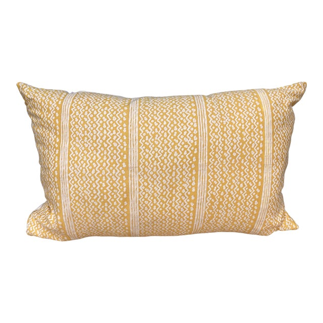 Fortuny Yellow Tapa Stripe Pillow For Sale