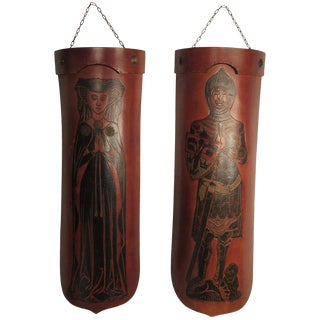 Pair of 1960s Tooled Leather Mid Evil Curved Wall Plaques For Sale