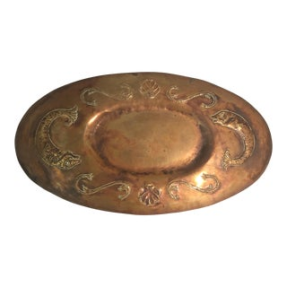Vintage Metal Tray With Dolphins, Scrolls, and Shells For Sale