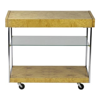 Milo Baughman Burl Wood Bar Cart For Sale