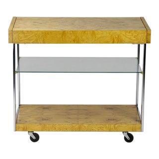 Milo Baughman Burl Wood Bar Cart