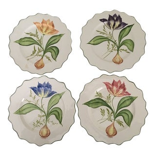 Hand-Painted Decorative Botanical Plates - Set of 4 For Sale