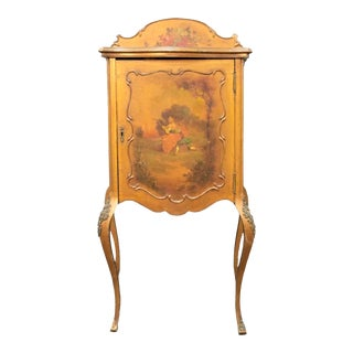 Antique Vernis Martin Hand Painted Music Cabinet For Sale