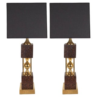Mid-Century Modern Sculptural Polished Brass and Cork Table Lamps - a Pair For Sale