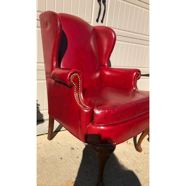 Hickory Furniture Late 20th Century North Hickory Co Traditional Leather Wingback Chair & Ottoman For Sale - Image 4 of 9