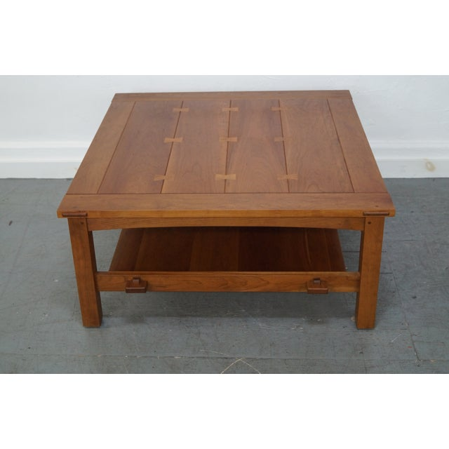 Stickley Cherry Mission Style Square Coffee Table - Image 3 of 10