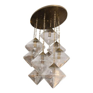 Custom Prism Globe Chandelier with Antique Brass Finish For Sale