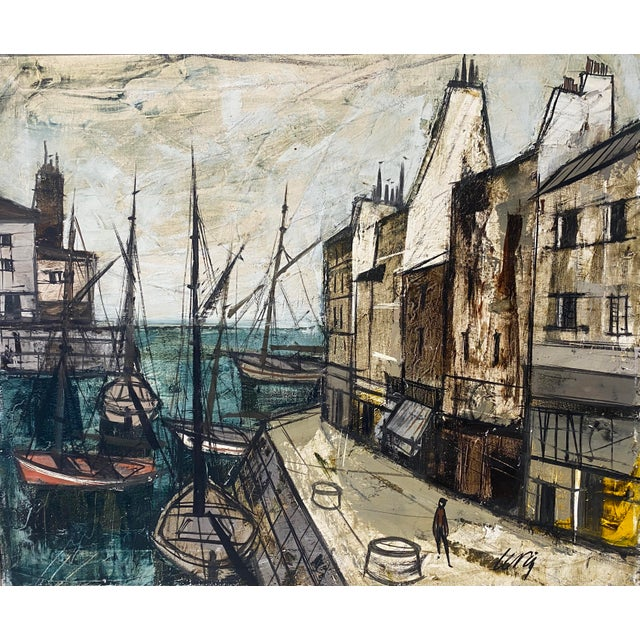 """Iconic French Port Scene with boats and small shops., newly custom framed. Frame size is 30""""x x 26""""h x 2"""" deep. Canvas..."""
