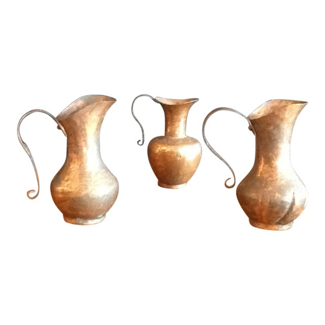 1900s Traditional Solid Copper Hammered Ewers - Set of 3 For Sale