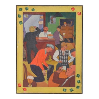 Vintage 1930s to 1940s Gambling Hall Oil Painting For Sale