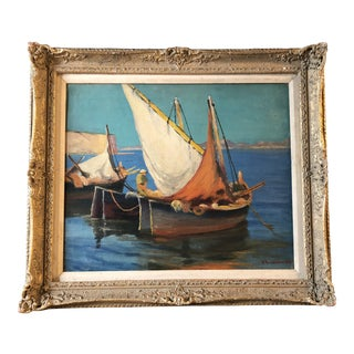 Original Vintage Mediterranean Seascape With Boats Painting For Sale